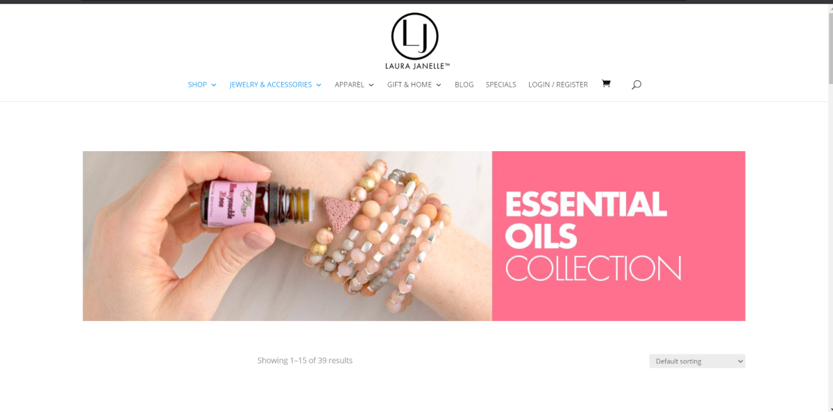This is a screenshot taken from the Essential Oils Collection category on the Laura Janelle store showing an image of essential oil being added to bracelet.