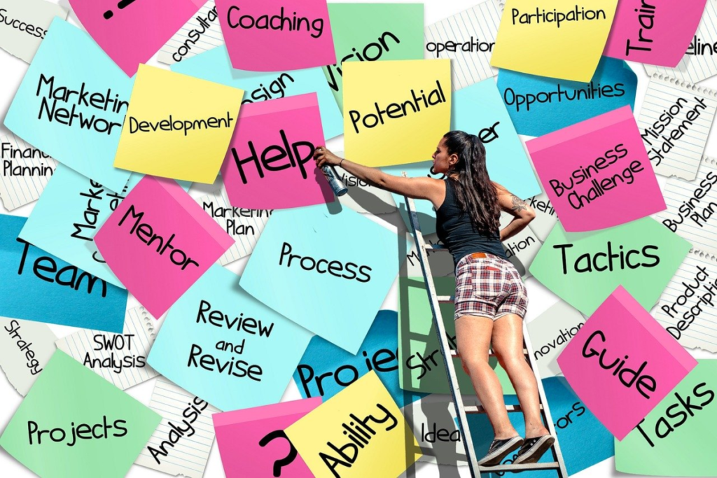 The image shows a wall of sticky notes in different colors with each one having one word associated with wahta life coach does with including: Coaching, Potential, Mentor, Business, and Development.