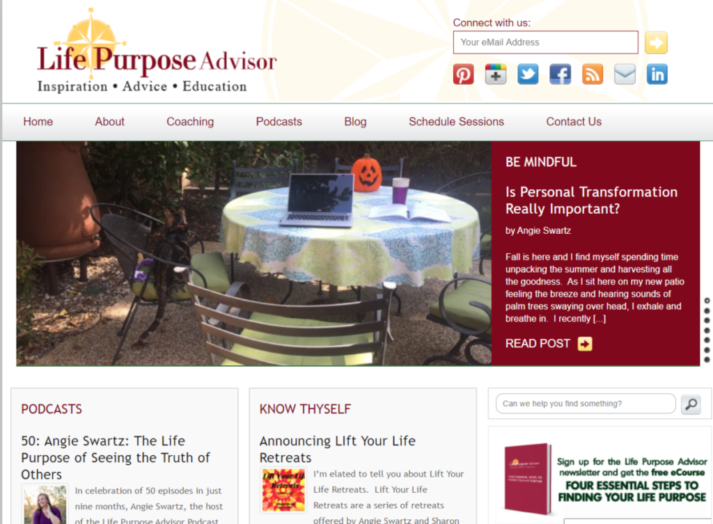 This is a screenshot of the Life Purpose Advisor website where Angie Swarz offers spiritual life coaching services.