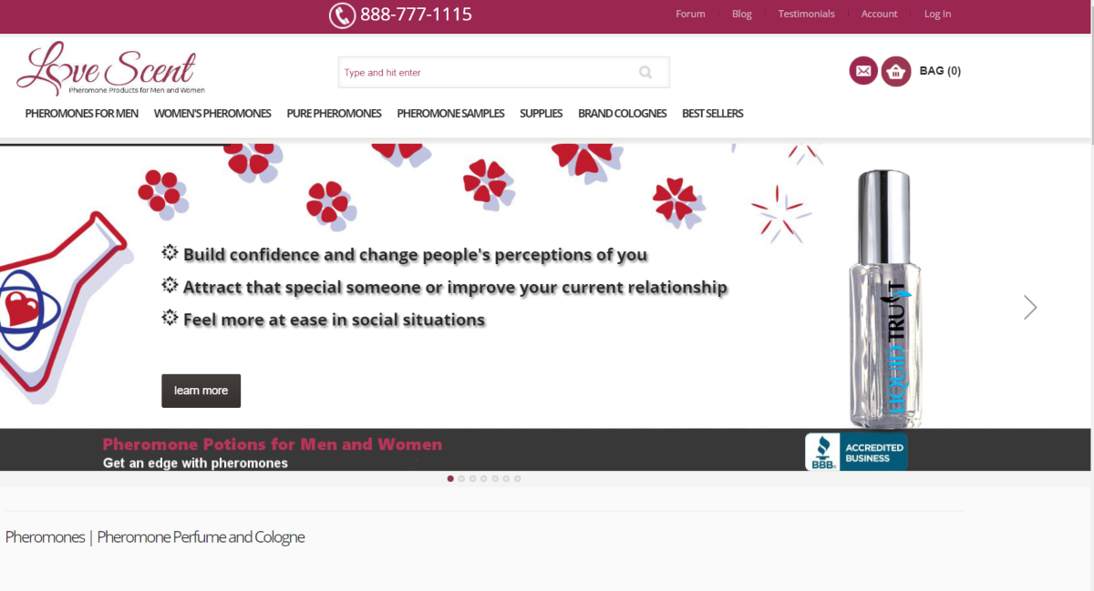 This is a screenshot taken from the Love-scents.com website that have pheromone perfumes that can change people's perceptions, and be helpful to those looking to attract someone special.