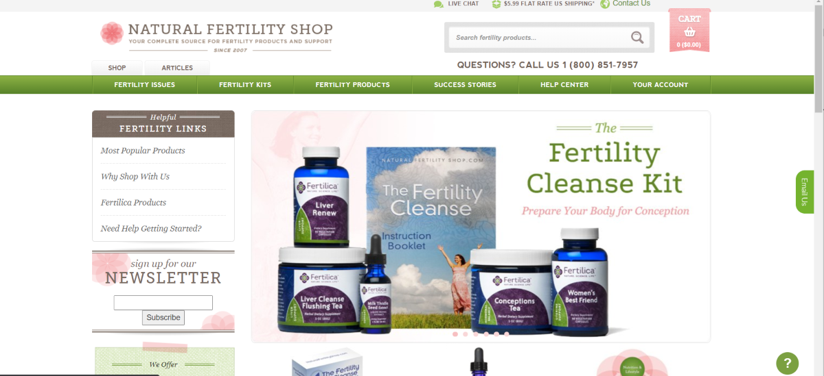 This is a screenshot taken from the Natural Fertility Shop online showing the wide range of infertility products available.