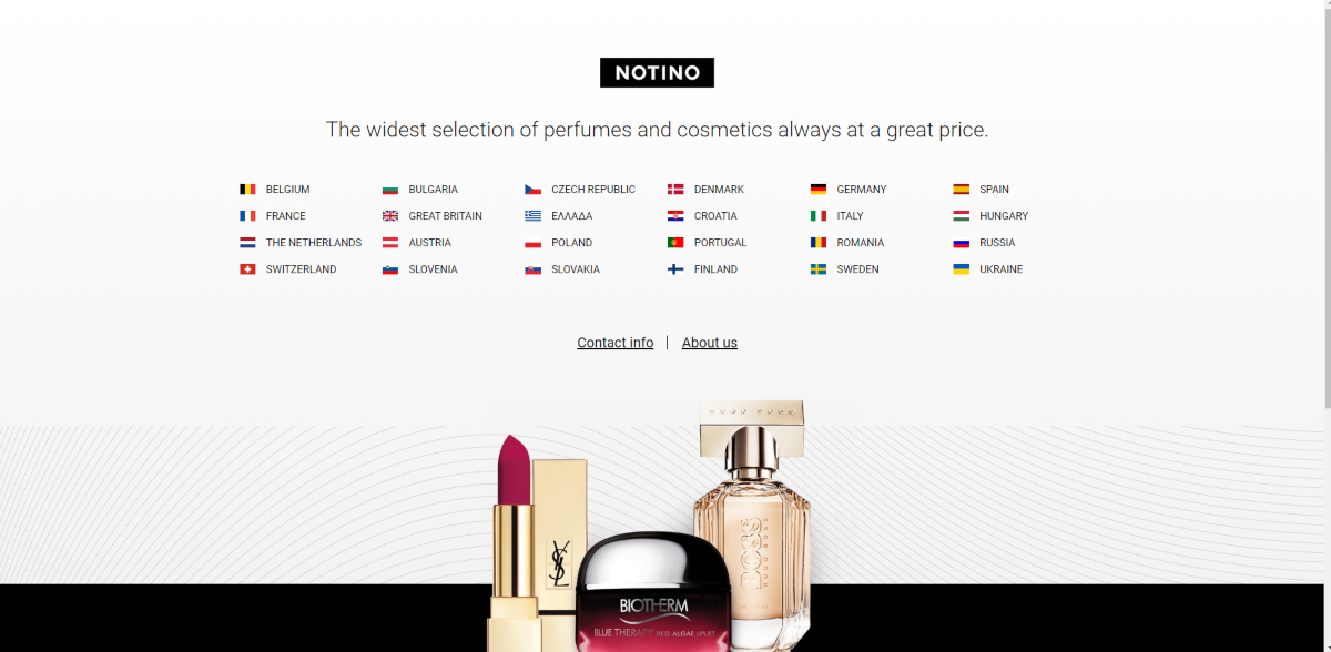 This is a screenshot of the Notino.com branded website that shows they sell perfumes and cosmetics and it lists the 24 European countries they operate within.
