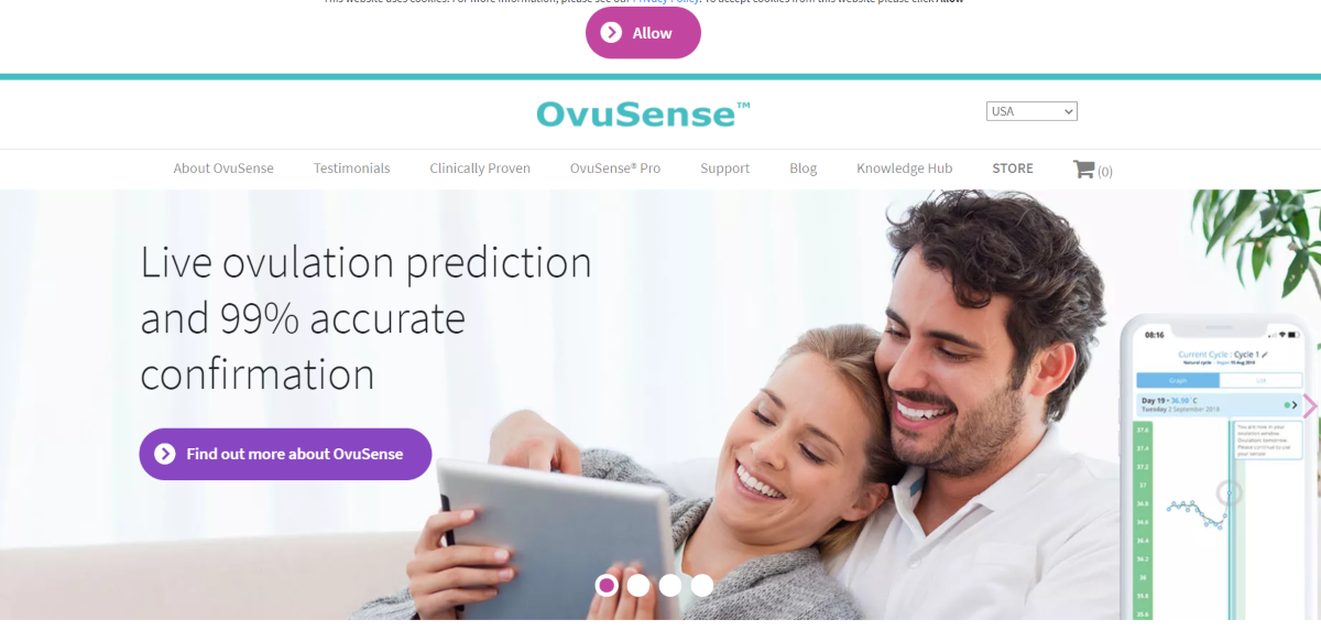 This a screenshot taken from the ovusense.com website showing they offer an ovulation prediction app with 99% accuracy.