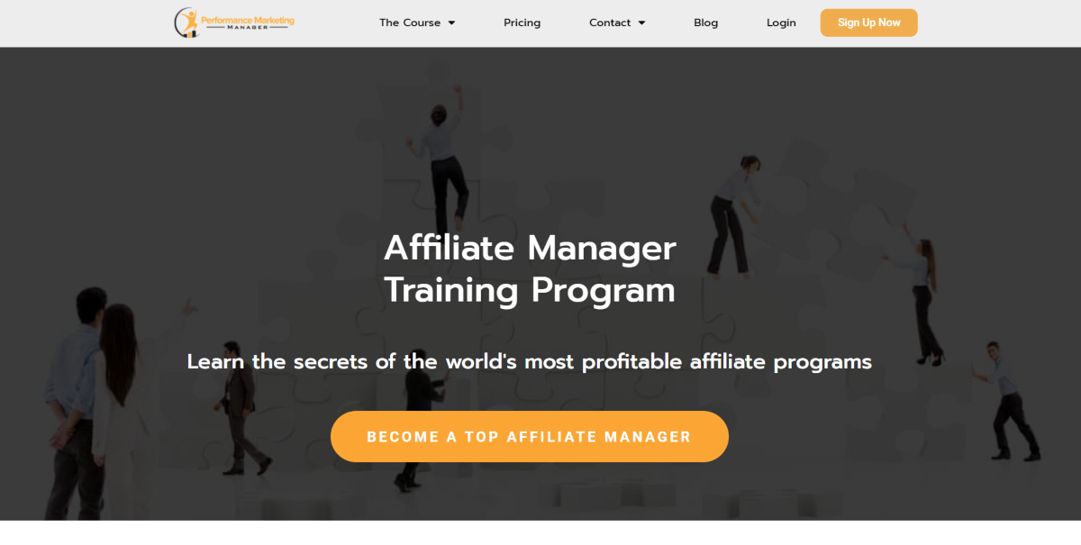 This is a screenshot taken from the Performance Marketing Manager website that provides affiliate marketing training and certification for people interested in becoming an affiliate marketing manager or providing consulting services.