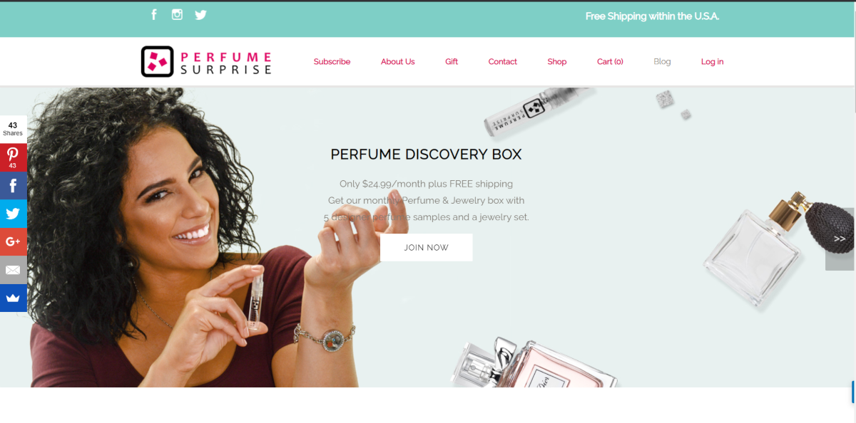This is a screenshot taken from PerfumeSurprise.com that sell a perfume discovery box of 5 x 2.5ml fragrances + 1 unique piece of jewelry as a subscription service.