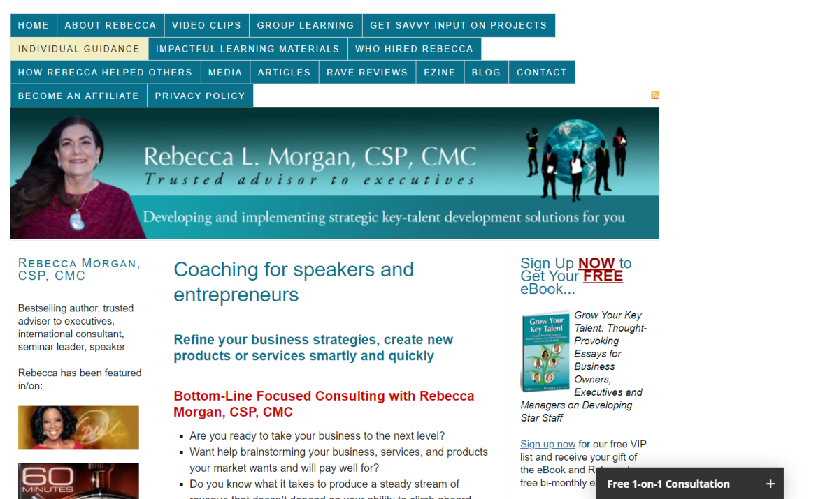 This is a screenshot taken from RebeccaMorgan.com where speaker and entrepreneurs can get executive coaching.