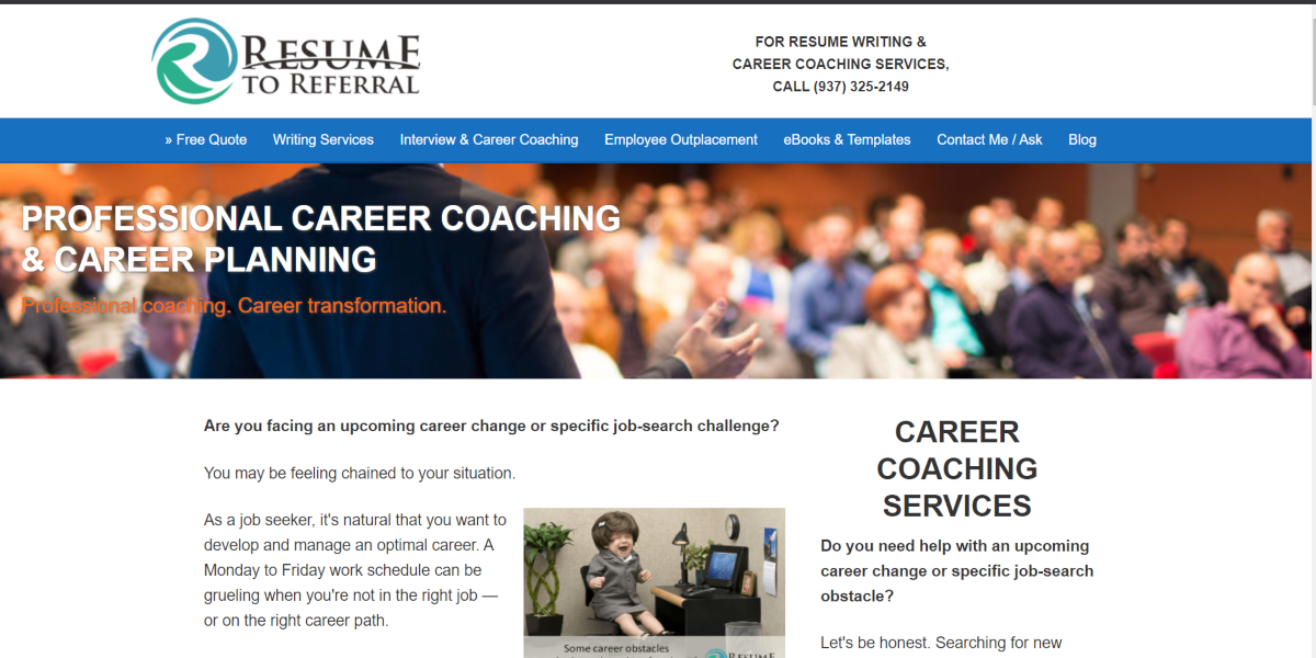 This is a screenshot taken from the resumetoreferral.com website that offers professional career coaching services.