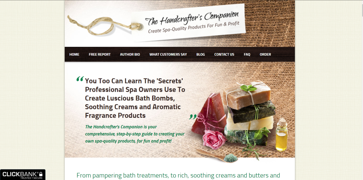This is a screenshot taken of the sales page for The Handcrafters Companion guide to creating aromatherapy products at home affordably