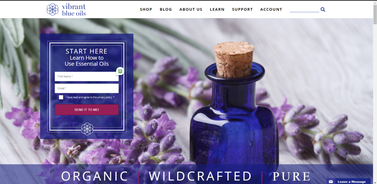 This is a screenshot taken from the VibrantBlueOils.com website showing their oils are organic, wildcrafted and pure and preserved in blue bottles to add its therapeutic qualities.