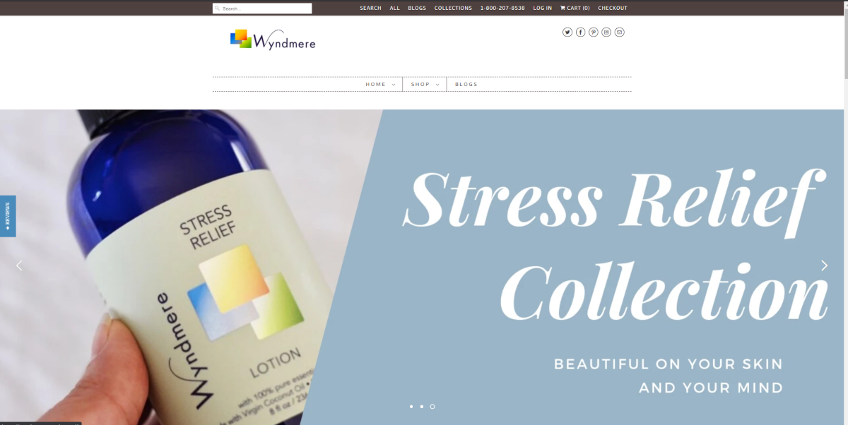 This is a screenshot taken from the Wyndermere Naturals website showing an image of the Wyndermere Stress Relief collection suited to those using aromatherapy for anxiety relief