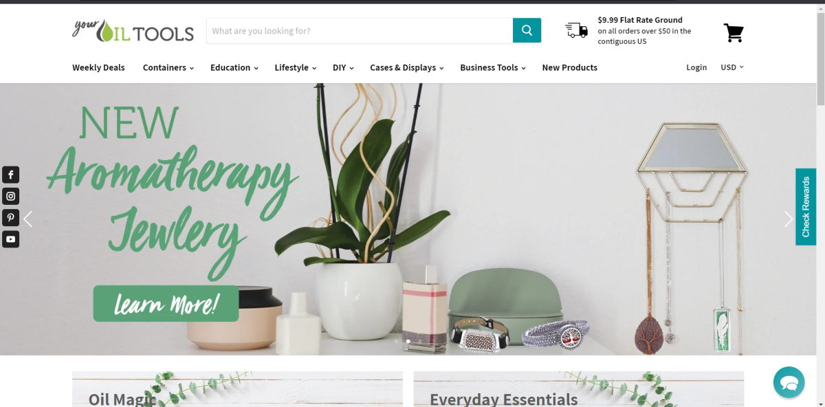 This is a screenshot taken from the GotoilSupplies.com website showing the wide layout navigation bar with all the aromatherapy categories that shows on the desktop version of the website.