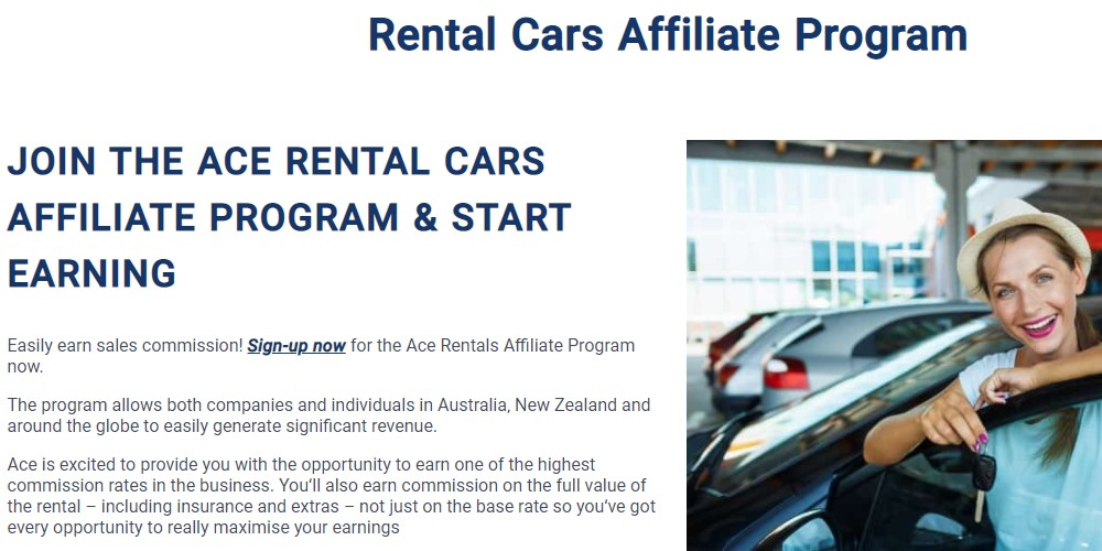 ace rental cars affiliate sign up page