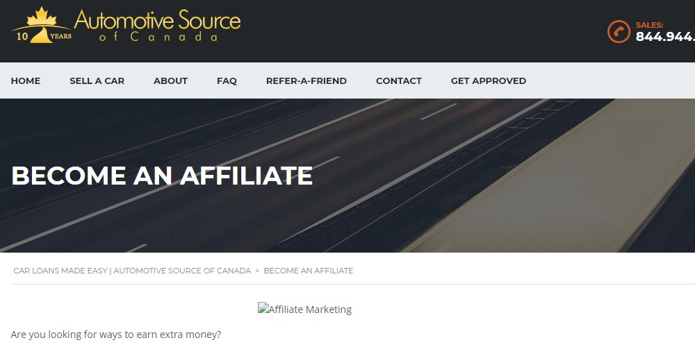 automotive source affiliate sign up page