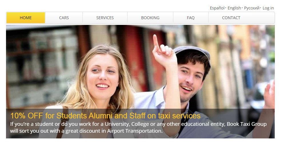 book a taxi home page