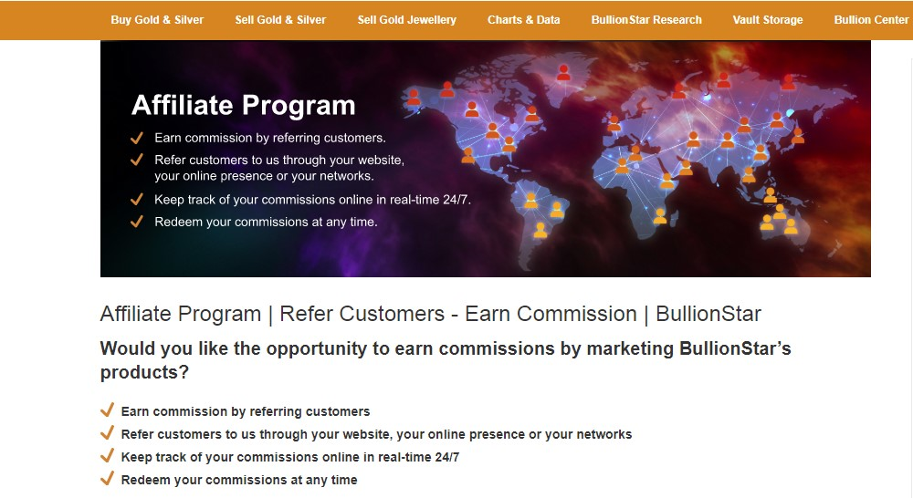 bullion star affiliate sign up page