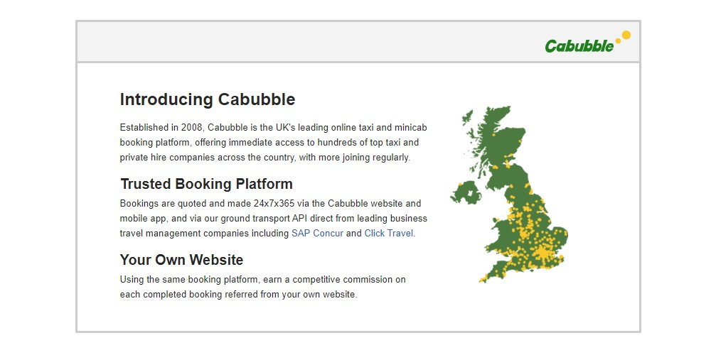 cab bubble affiliate sign up page