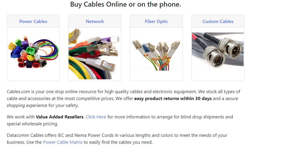 cables home page