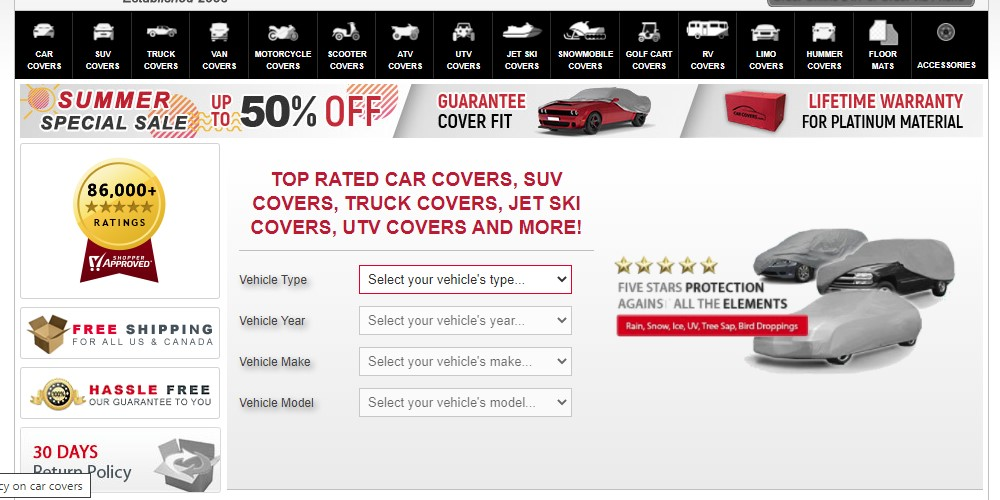 car covers home page