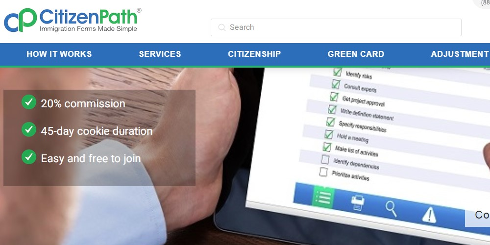 citizen path affiliate sign up page