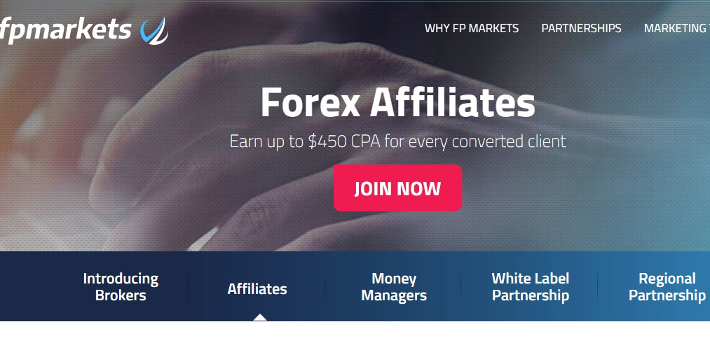 fp markets affiliate sign up page