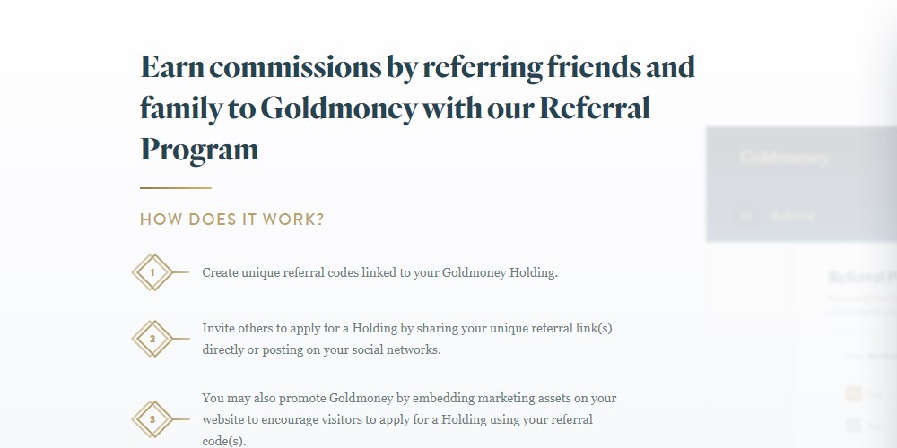 gold money affiliate sign up page