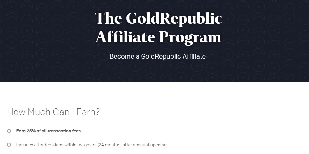 gold republic affiliate sign up page