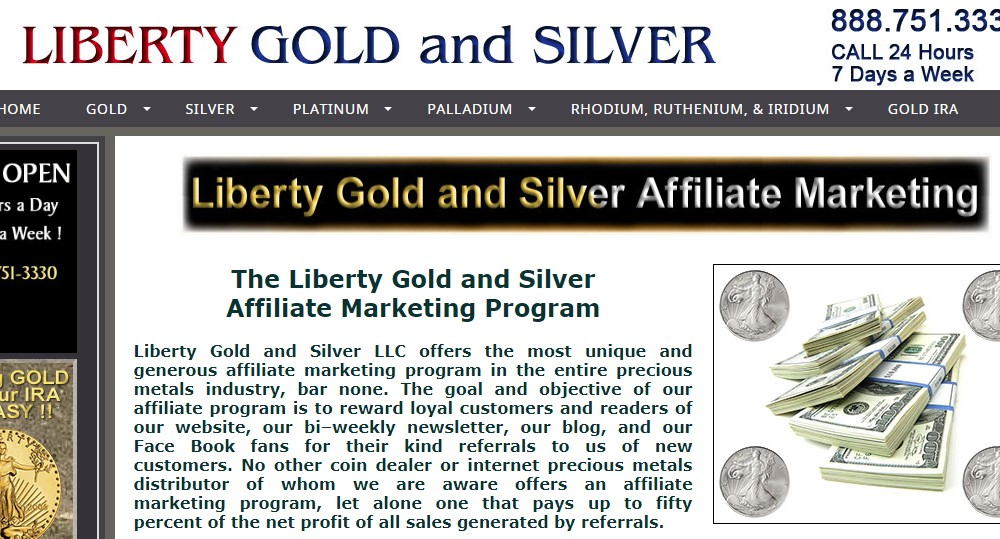 liberty gold and silver affiliate sign up page