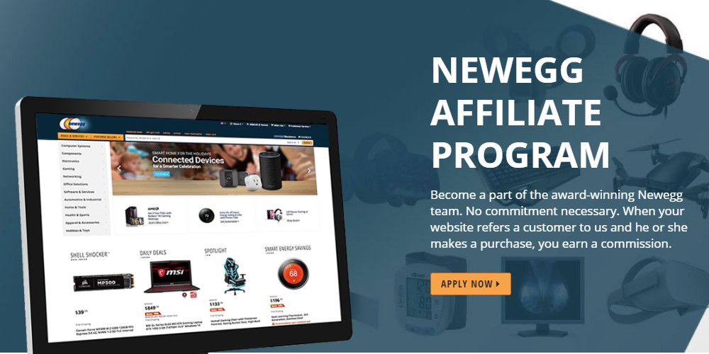 newegg affiliate sign up page