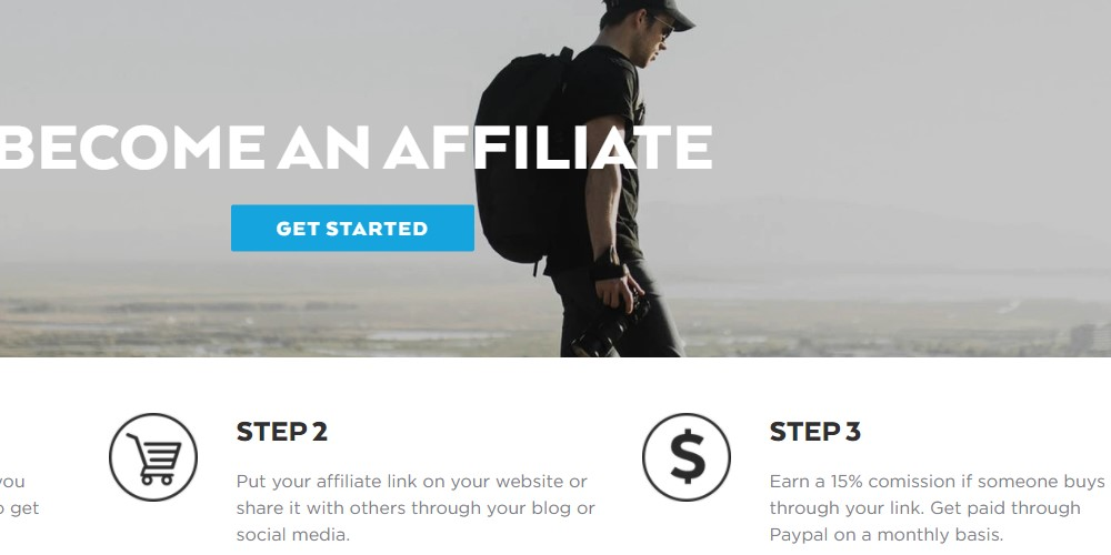 nomatic affiliate sign up page