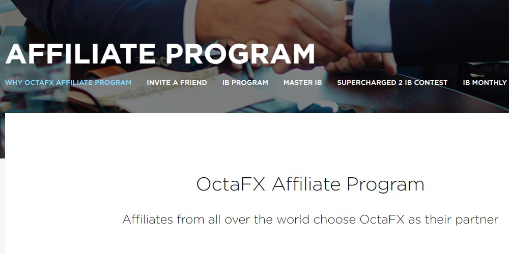 octa fx affiliate sign up page