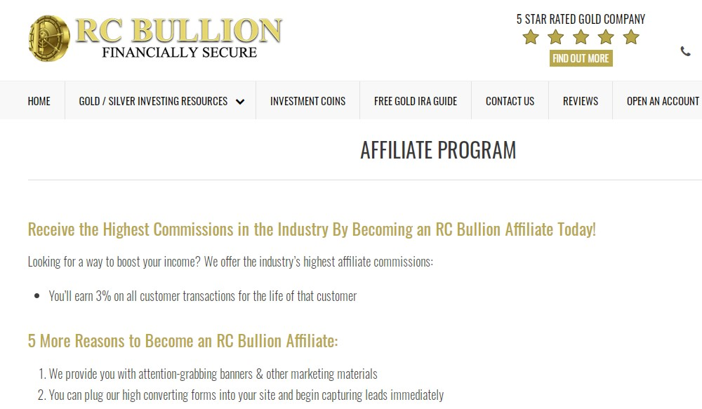 rc bullion affiliate sign up page