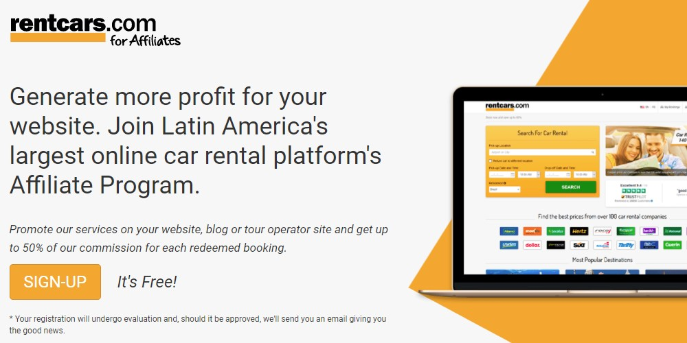 rent cars affiliate sign up page