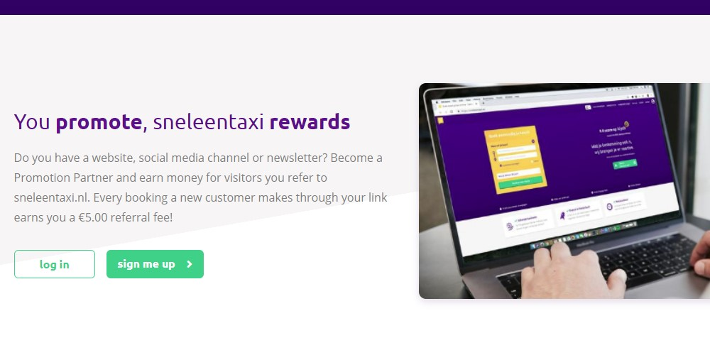 sneleen taxi affiliate sign up page