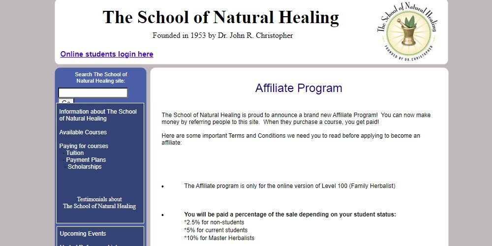 the school of natural healing home page