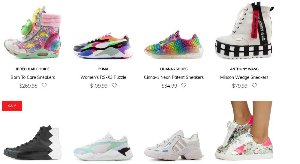 tilted sole sneaker category page