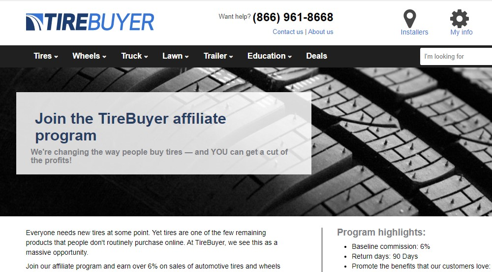 tire buyer affiliate sign up page