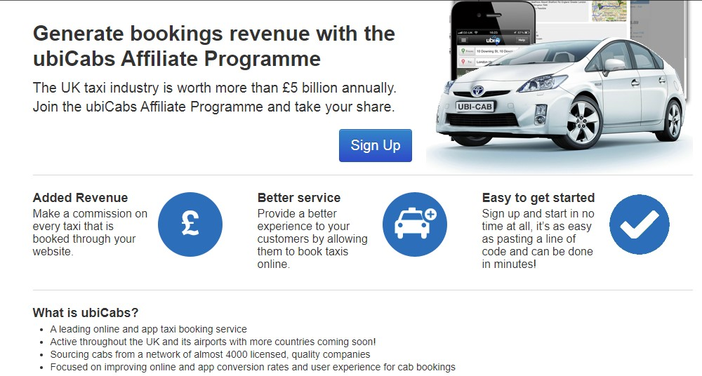 ubi cabs affiliate sign up page