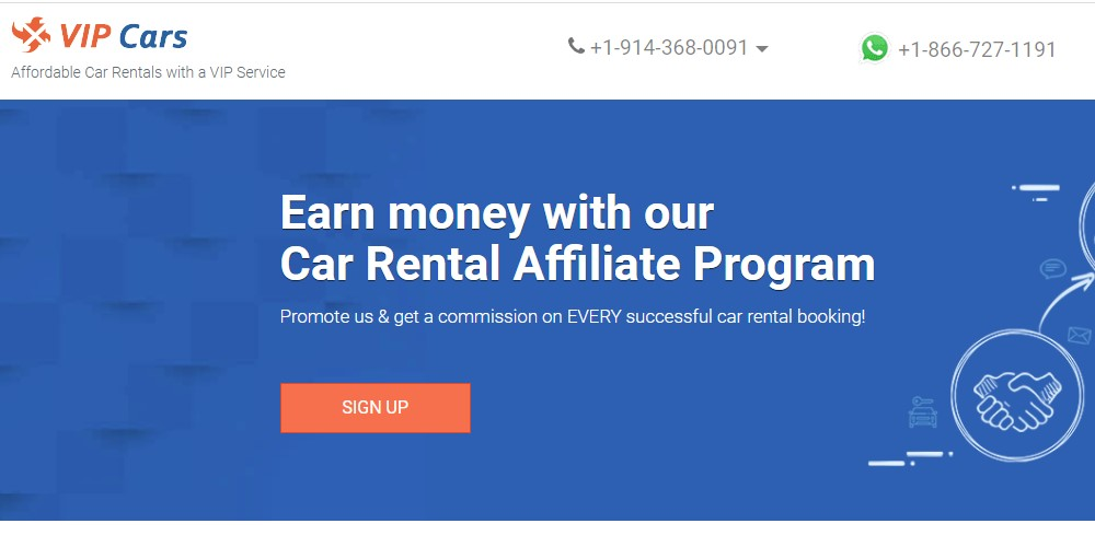vip cars affiliate sign up page