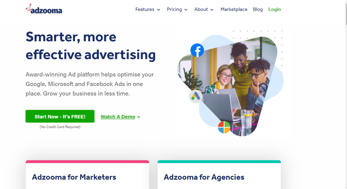This is a screenshot taken from the Adzooma.com home page showing they offer a platform for advertisers to manage PPC campaigns for Google, Microsoft and Facebook advertising on the one platform.
