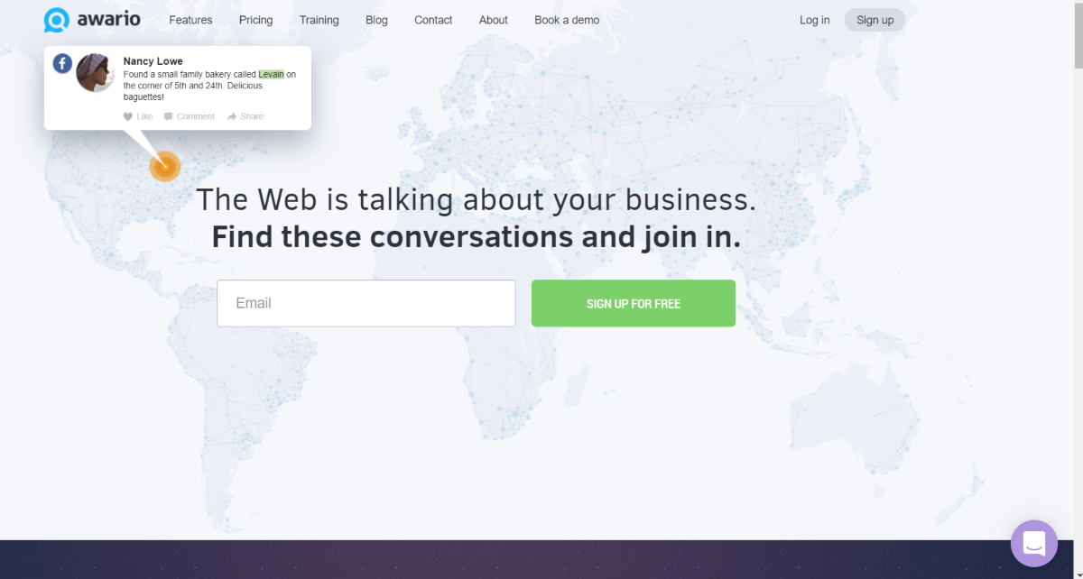 This is a screenshot taken from the Awario.com website showing they provide social listening software to use social media platforms to find and join conversations to increase engagement and drive qualified traffic to websites.