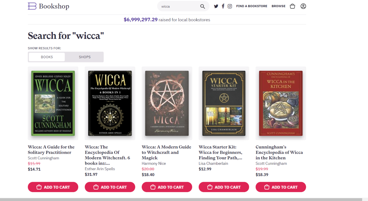 This is a screenshot taken from the BookShop.org website showing a small selection of the books returned for a search on Wicca
