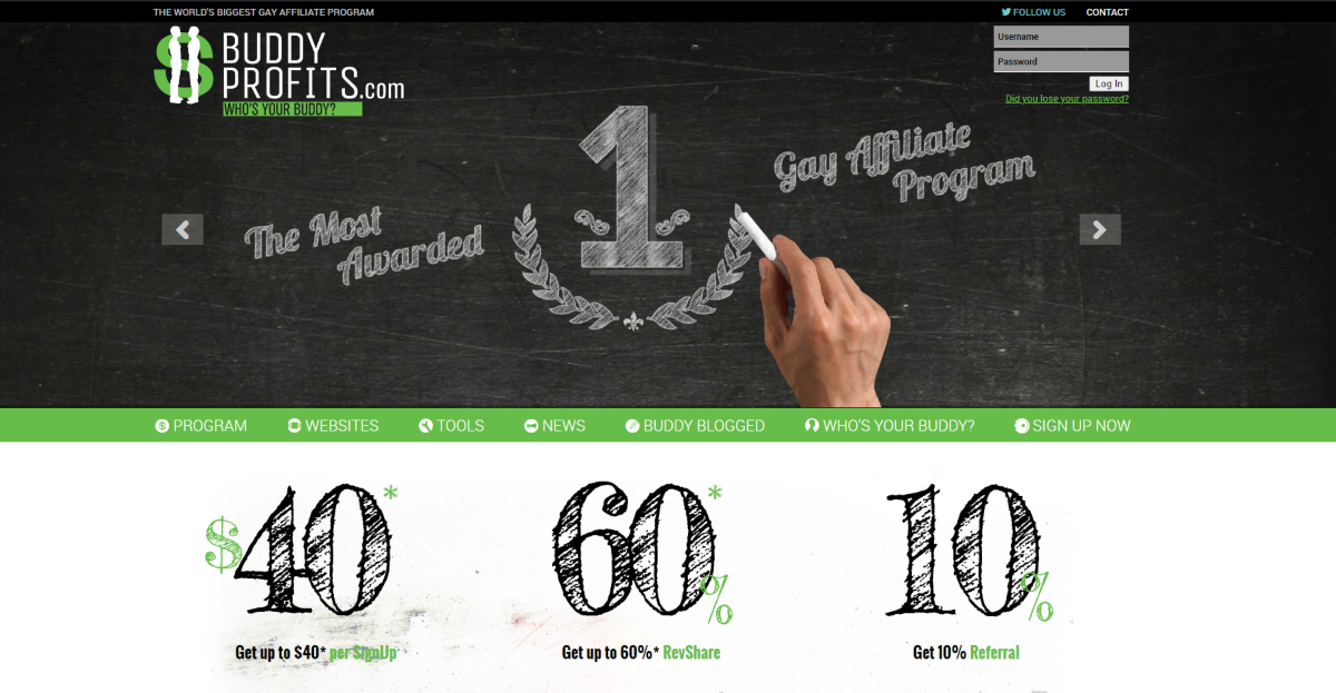 This is a screenshot taken from the Buddyprofits.com website showing they rank as the most awarded gay affiliate program and the rates they pay affiliates starting at $40 per signup and up to 60% revenue share.