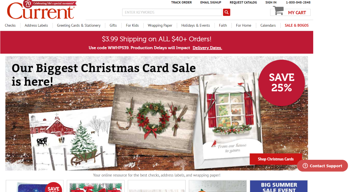 This is a screenshot taken from the CurrentCatalog.com store showing a range of Christmas cards on sale as well as other categories of greeting cards and gifts for creating memorable moments in life.