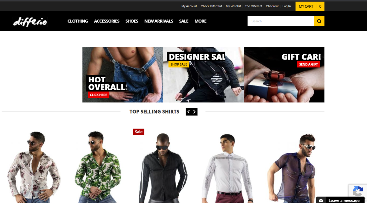 This is a screenshot taken from the Differio.com website showing some samples of their mens clothing range.