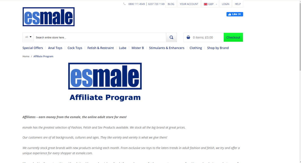 This is a screenshot taken from the affiliate information page of the ESMale.com website that also shows the categories of male sex toys they have available as well as lubes, stimulants and enhancers.