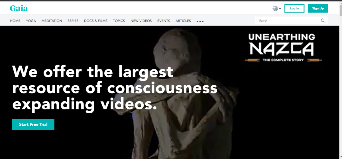 "This is a screenshot taken from the Gaia.com website showing they ""offer the largest resource of of consciousness expanding videos""."