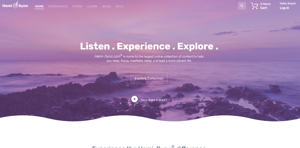This is a screenshot taken from the Hemi-sync.com website showing they're a brainwave entrainment company with the largest online collection of content to help people relax, connect, focus and meditate more effectively.