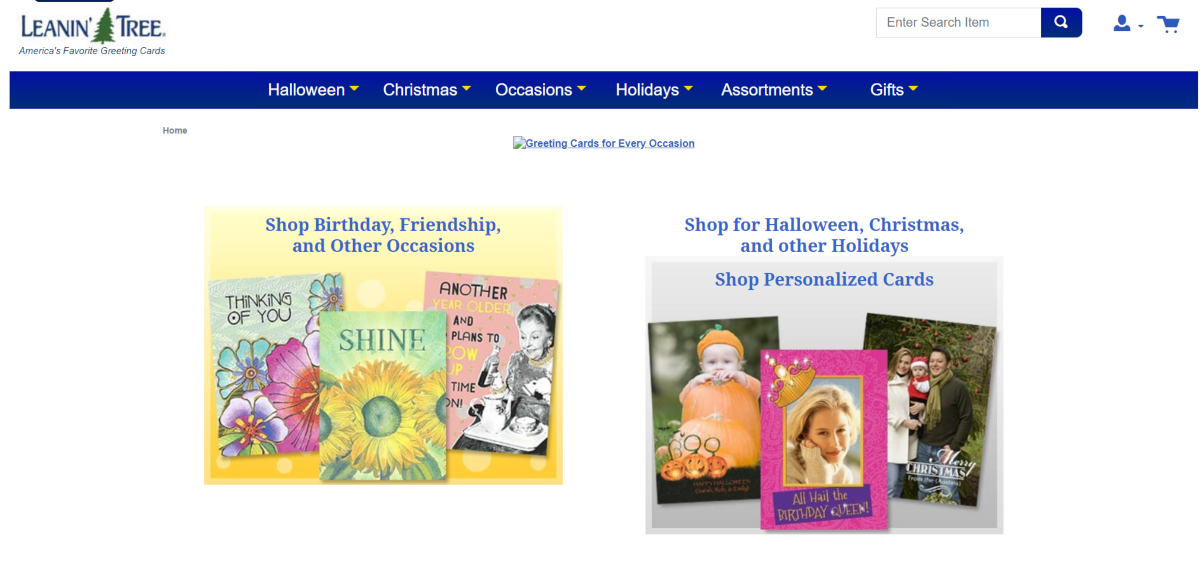 This is a screenshot taken from the LeaninTree.com store showing a small sample of their greeting card designs and options for personalized cards.