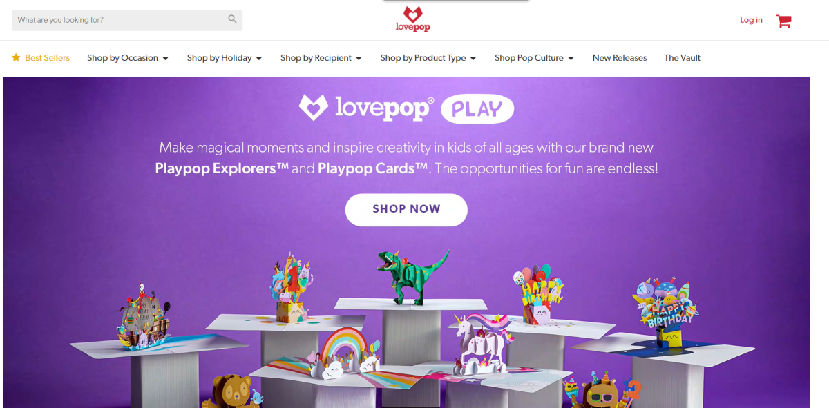 This is a screenshot taken from the LovePopCards.com store showing some samples of their Pop Up cards for kids of all ages