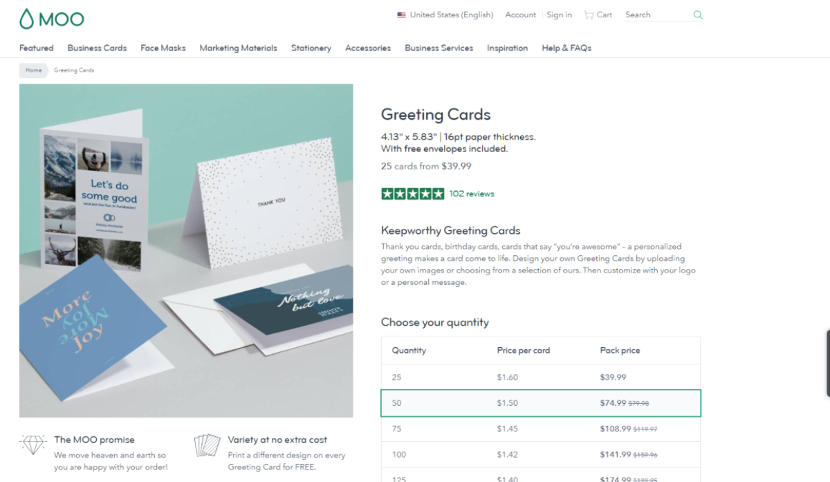 This is a screenshot taken from the Moo.com business supplies website showing they sell volume quantities of greeting cards for designers
